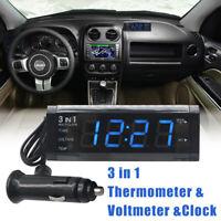 Blue LED Display Car Electric Thermometer Voltmeter Voltage Meter Clock DC 12V