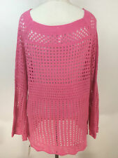 NY Collection Open-knit Tunic Sweater Size XL Azalea PINK Size XL