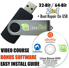 Linux Mint 19 Cinnamon Install 16 GB USB  32/64-bit Dual + Boot Repair+BONUS DVD