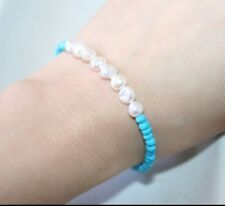 GORGEOUS GENUINE WHITE FRESHWATER PEARL AND TURQUOISE GEMSTORNE BRACELET