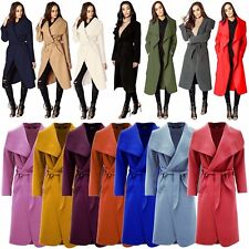New Style Ladies Long Duster Waterfall ITALIAN Celebs Belted Parka Trench Coat