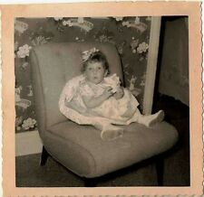 Vintage Antique Photograph Cute Baby All Dressed Up Sitting in Chair in Parlour