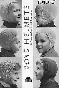 BOYS KNITTING PATTERN HELMETS Hats  PATONS 3 4 PLY Vintage