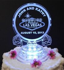 LED Las Vegas Lighted Wedding Cake Topper Acrylic Cake Poker Chip Personalized