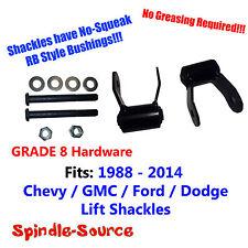 "1.75"" REAR Lift SHORT Shackles SET Chevy GMC 1988 - 2018 RB Bushing, GRADE 8 KIT"