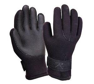 Rothco Black Neoprene Waterproof Micro Fleece Lined Cold Weather Gloves