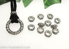 15 Metallperlen, Rondelle, 7 x 3,5 mm, Zwischenperle in silber, Perlen basteln