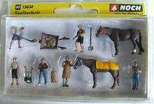 Noch HO Figures 15634 Stable Workers Horses and Tools