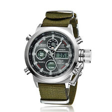 OHSEN Mens Military Green Canvas Date Water Proof Digit Light Quartz Wrist Watch
