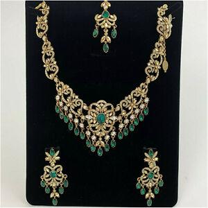 Kyles Emerald Green Gold Designer Jewellery Set Necklace With Earring Tikka Set