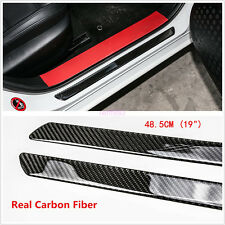 "2x 19"" 485mm Autos Scuff Plate Door Sill Panel Step Protector Carbon Fiber Guard"