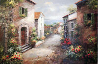 Italian Beach Town Homes Flowers Adriatic Sea View Large Oil Painting STRETCHED