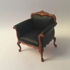 Dolls House Black Leather Armchair (a)