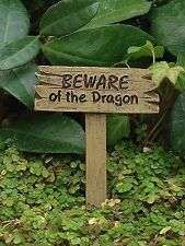 Miniature Dollhouse FAIRY GARDEN ~ BEWARE of DRAGON Sign Pick ~ NEW