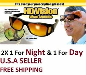 HD Night & Day Vision Wraparound Sunglasses, As Seen on TV, Fits over Glasses
