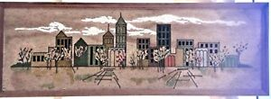 Mid-Century Mixed Media Mosaic Pebble/Gravel Wall Art/Picture - City Scape