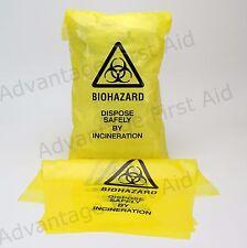 Bio-Hazard Self SIGILLO GIALLO Clinica lo smaltimento dei rifiuti Sacchetti 20cm x 35cm Qtà 100