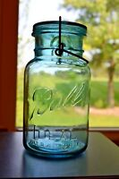 Vintage Blue Ball Ideal Jar with Wire Bale Quart Size 1923 - 1933