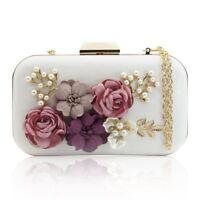 rsen Taschen Blume Leder Umschlag Perle Geldboerse Abend Handtasche (weiss) P5K9