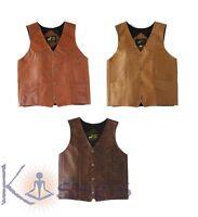 NEW Men's Western Leather Vest Genuine Cowhide Outback Biker Snap Cowboy Mexico