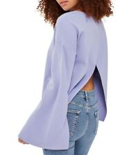TopShop US Size 2 Top Purple Split Back Bell Sleeve Lilac Blouse Sweatshirt NWT