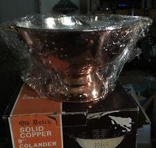 """Old Dutch Solid Copper Footed Colander, 9"""" New!"""