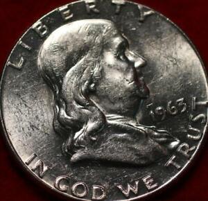 Uncirculated 1963 Philadelphia Mint Silver Franklin Half
