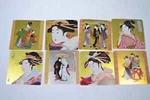 VINTAGE UNUSED JAPANESE UKIYOE COASTERS, SET OF 8