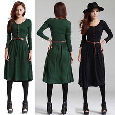 Women Autumn Winter Long Sleeve Casual Work Pleated Knit Slim Sweater Dress Belt
