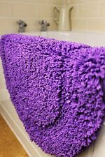 SUPERSOFT NEON PURPLE SHAGGY CHENILLE OVAL INDOOR RUG BATH MAT 50cm x 80cm