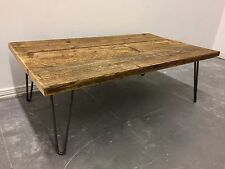 Industrial Reclaimed Timber Scaffold Board Coffee Table On Hairpin Legs