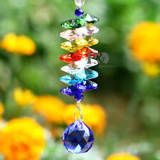 Blue Suncatcher Hanging Crystal Drop Feng Shui Rainbow Prism with Octagon Beads