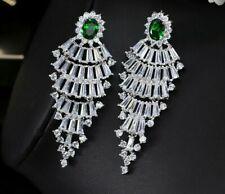 Green Dangle Cubic Zirconia Vintage White Gold Crystal Big Long Tassel Earrings