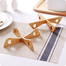 Detachable Wood Table Mat Pot Holder Tray Rack Steaming Stand Insulated Shelf