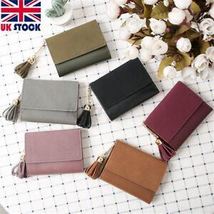 Women Ladies Tassel Short Wallet Card Holder Zipper Clutch Handbag Coin