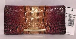 Brahmin Melbourne ADY Slim Bifold Lthr Wallet SUNSET OMBRE Plum Bronze NWT Gorg!