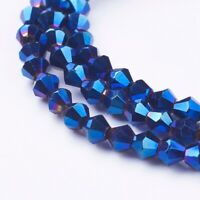 10 Strand Electroplate Bicone Glass Bead Findings AB Finished Royal Blue 4*4mm