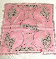 CARTIER Signed 100% Silk JEWELED PANTHER Scarf in PINK Very Very RARE w/Tag MINT