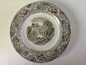 "Antique R Hammersley RHINE Brown Transferware PLATE 8 3/8"" Staffordshire 1862-85"