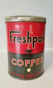 Vintage Freshpak 1 Lb Coffee Tin Grand Union Co Screw Lid Steel Can Litho