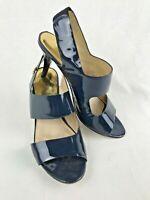 MICHAEL KORS Women's Navy Blue Slip On Heeled Sandals/Shoes  Size 9.5 M