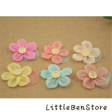 Wood Button Flower Girls Children Hairpin Hair dress Duckbill Kid Hair Head Clip
