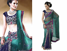 Indian Designer Women Free Size Embroidery Net Lehenga Sari Saree Blouse Piece