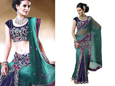 Indian Designer Women Free Size Embroidery Net Lehenga Sari Saree Blouse Piece