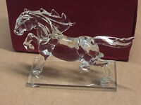 Clear Crystal Glass Horse Statue Figure Romany Animal 19cm Long New in Gift Box