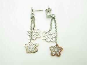 Nomination Italy Platinum Sterling Silver Rose Gold Clover Chandelier Earrings