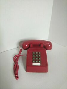 Vintage Push Button Red Telephone.Works.With 10 foot red cord