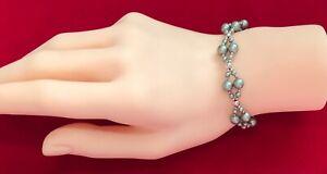 """925 Sterling Silver Balls & Sage Green Beaded Bracelet  -  7.5"""" -  (D3C)"""