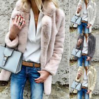 Women Winter Warm Faux Fur Party Outwear Long Fleece Lady Jacket Coat Parka New