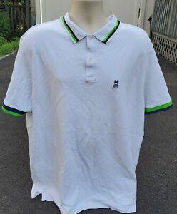 Psycho Bunny White Polo Green Blue Trim Short Sleeve Shirt sz 3XLT XXXL TALL MEN
